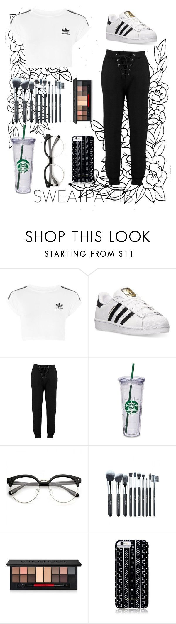 """Sweatpants"" by princess-maggi-lou ❤ liked on Polyvore featuring adidas, Boohoo, Smashbox and Savannah Hayes"
