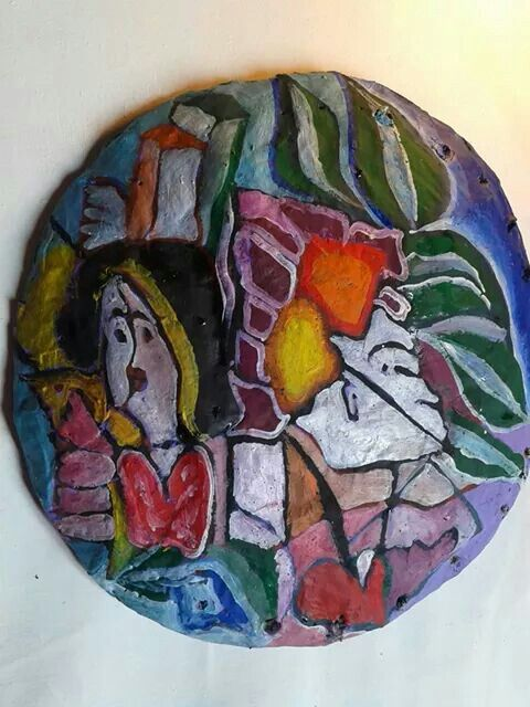 Piatto di cartapesta dipinto con colori ad olio (da appendere)