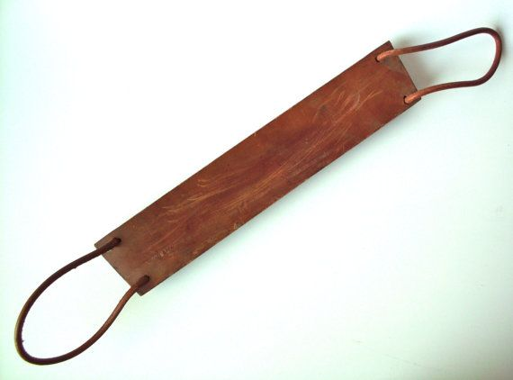 Vintage Hanging Leather Knife Blade Sharpening Strap, Strop by PoorLittleRobin