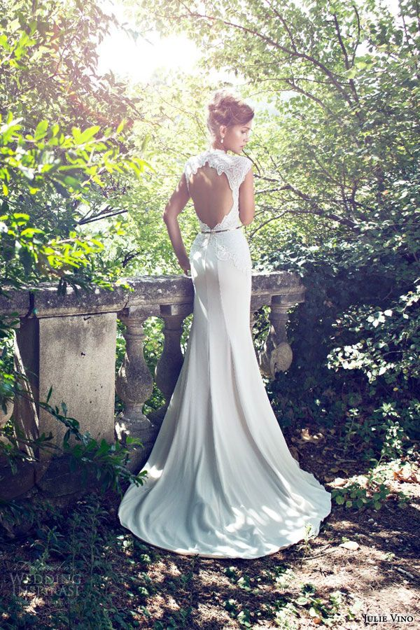 julie vino bridal 2015 fall provence grace cap sleeve wedding dress keyhole bodice high neckline back view