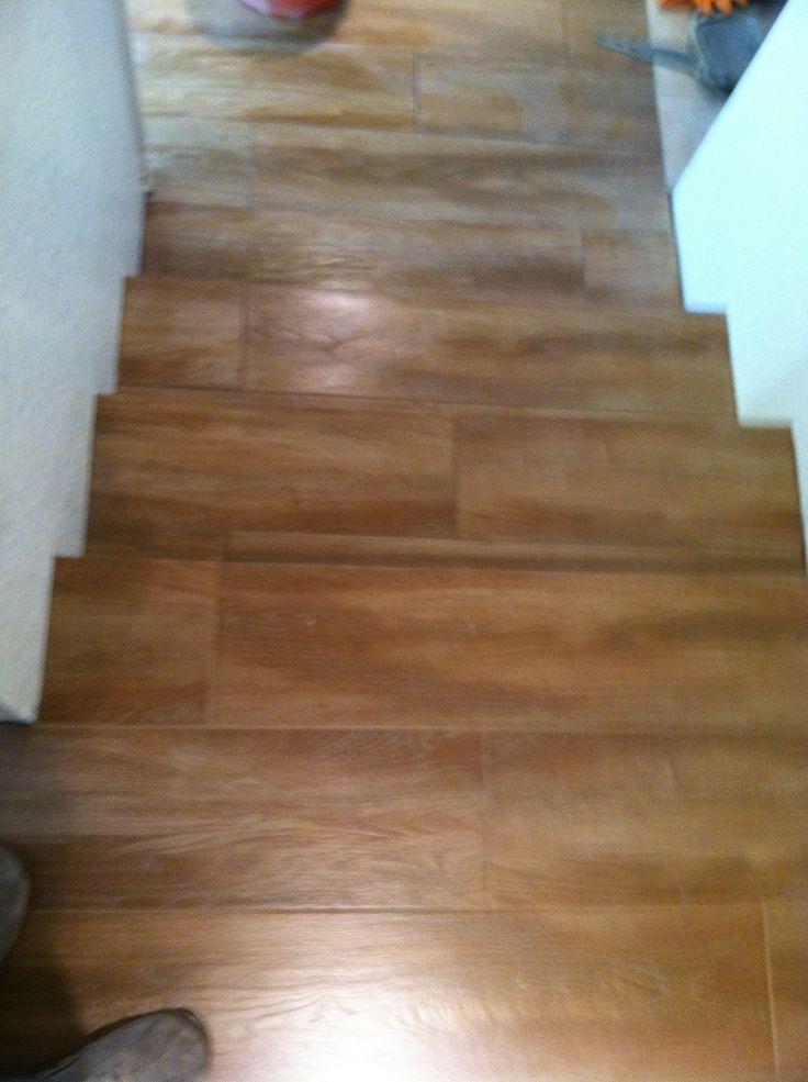Wood Plank Porcelain Tile Installed On Stairs In Prescott 10 2013