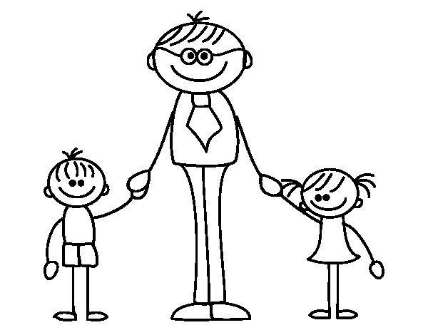 Dibujo De Padre Con Sus Hijos Para Colorear Fathers Day