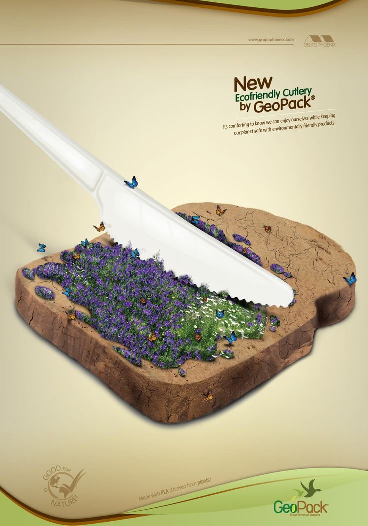Ecofriendly Disposables GeoPack: Knife       It's comforting to know we can enjoy ourselves while keeping our planet safe with environmentally friendly products.  Advertising Agency: Pubblica, Bogotá, Colombia