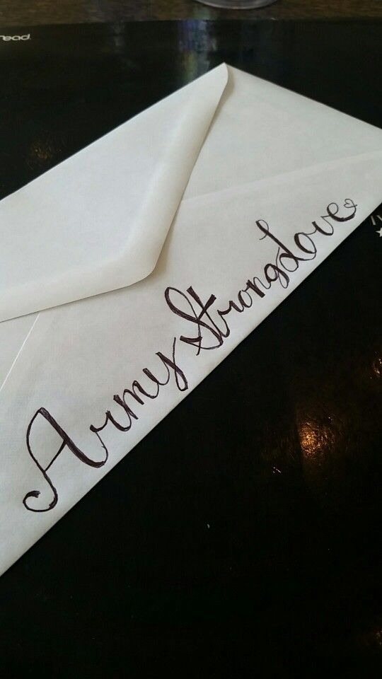 Fun way to decorate standard envelopes when sending letters to soldiers #Army #ArmyStrong #BTC #BootCamp #Letters #military #militarygirlfriend #militarywife #militaryspouse