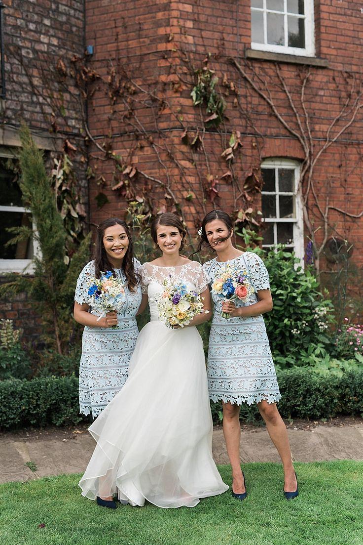 Short Pale Blue Lace Shift Bridesmaids Dresses Chic Natural Garden Wedding http://www.folegaphotography.co.uk/