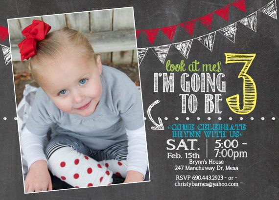 adorable chalkboard 3rd birthday invitation