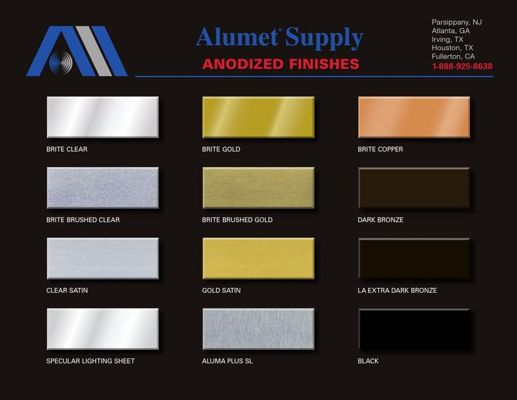 Alumet Anodized Finishes Color Chart | Metal roof colors ...