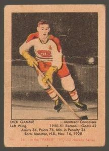 #16 Dick Gamble (1951-1952) - Parkhurst Products Ice Hockey card. New on http://colnect.com/sports_cards