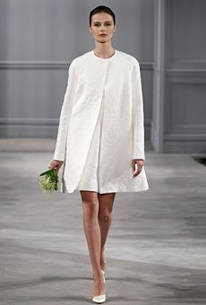 Short dress wtih coat by Monique Lhuillier | Wedding Dress