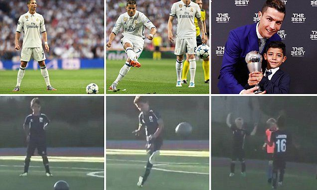 Cristiano Ronaldo Jnr shows the free-kick gene runs in the family -   Like father, like son... the free-kick gene appears to have passed from one Cristiano Ronaldo to another.   Ronaldo Jnr, aged six, pulled off the pe... See more at https://www.icetrend.com/cristiano-ronaldo-jnr-shows-the-free-kick-gene-runs-in-the-family/