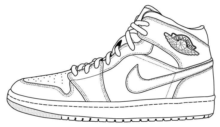 sports shoes 7ba6d 1af22 Sneaker line drawing  AJ1   diy in 2019   Air jordans, Shoe template,  Sneakers nike