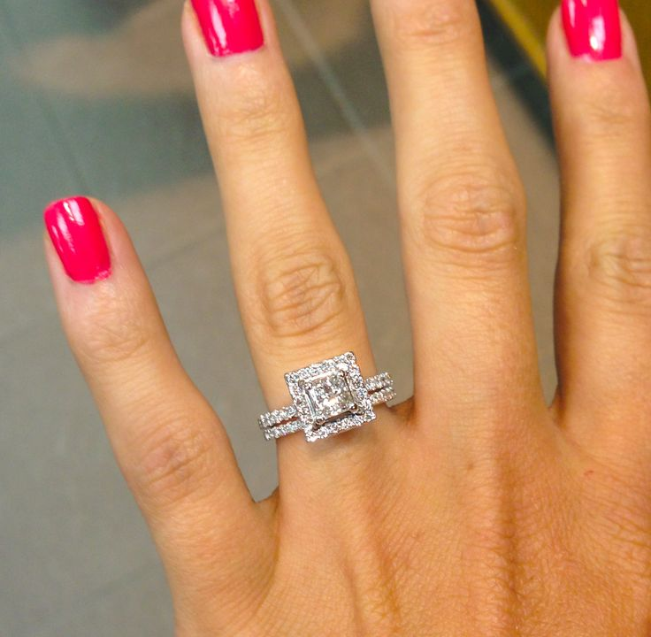 princess cut with square halo and thin diamond bands ahh i love my - Square Wedding Rings
