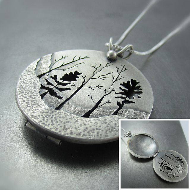 Woodland forest photo locket joyer as joya y relicarios for How do i clean sterling silver jewelry