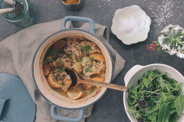 chicken with fennel, apple& lemon