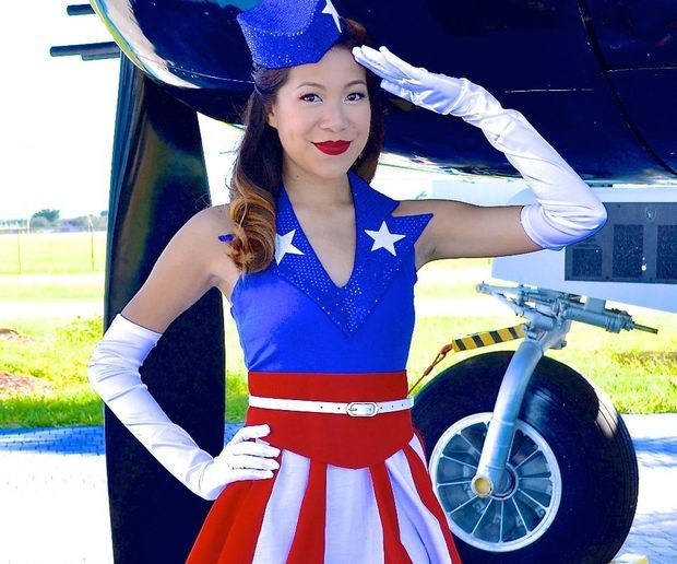 DIY Captain America USO Girl Costume- No Sew!