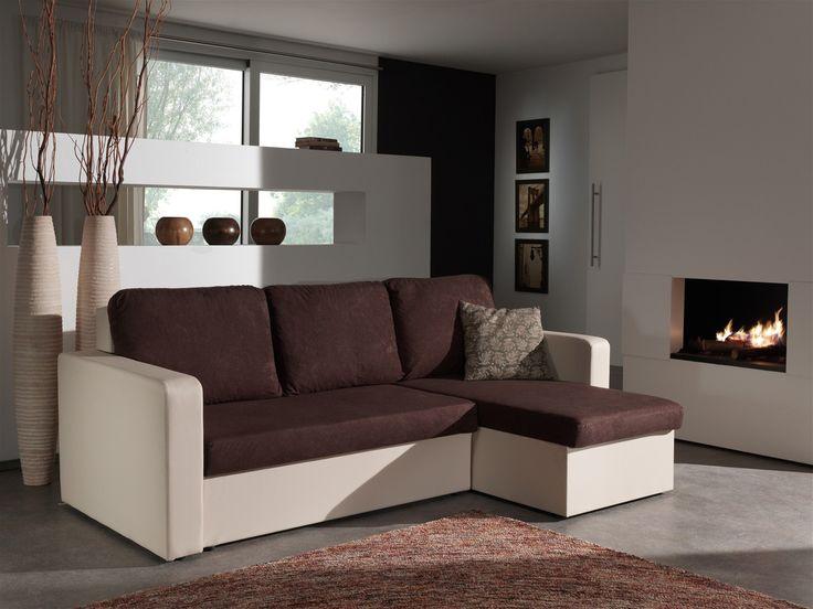 Le canapé d'angle Milo vous charmera par sa teinte bicolore et par son mélange audacieux des matières.