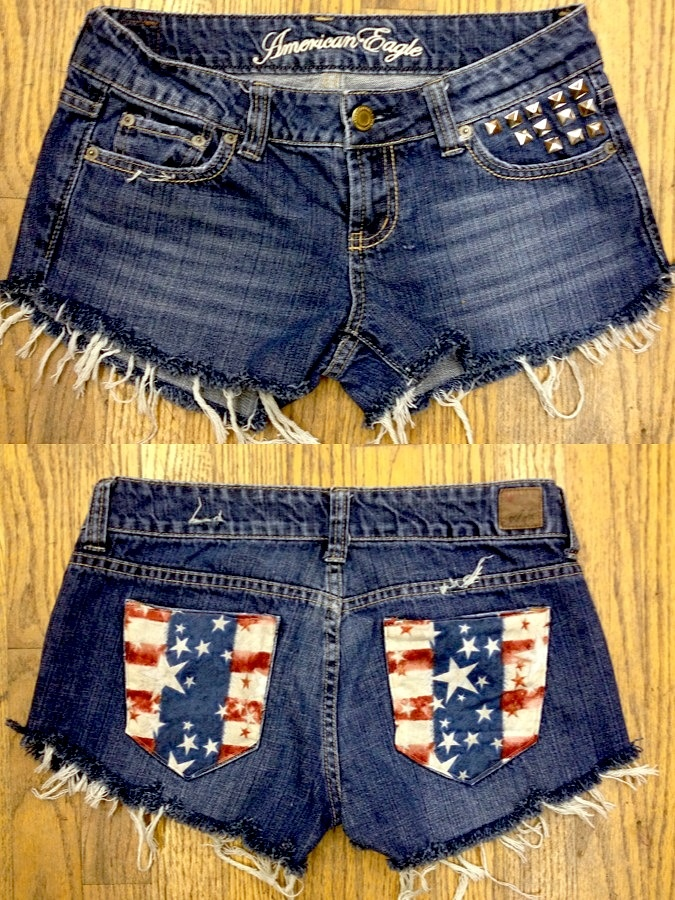 USA shorts studded American eagle