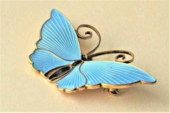 David-Andersen. Brosje, sommerfugl, i sterling sølv med emalje. Vintage