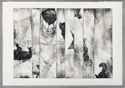 Through the Trees, etching with chin collie