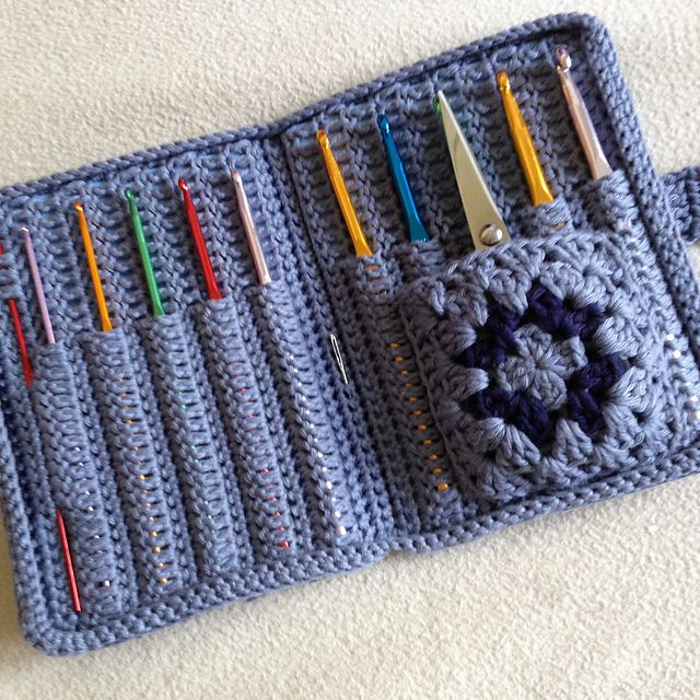 Aluminum Crochet Hook Case, I like the granny square pocket for notions