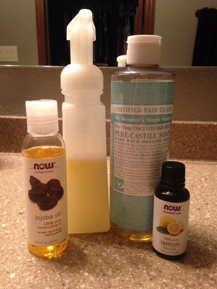 My homemade face wash.  2/3 cup liquid Castile soap (I use the baby one because it is gentle), 1/4 cup witch hazel, 1 tbsp Jojoba oil, 20 drops orange or other citrus essential oils (I used Lemon), and put in foaming dispenser (I used a bath and body works one). I also add a few drops of Lavender, Tea Tree and Frankincense because they are all used for acne.