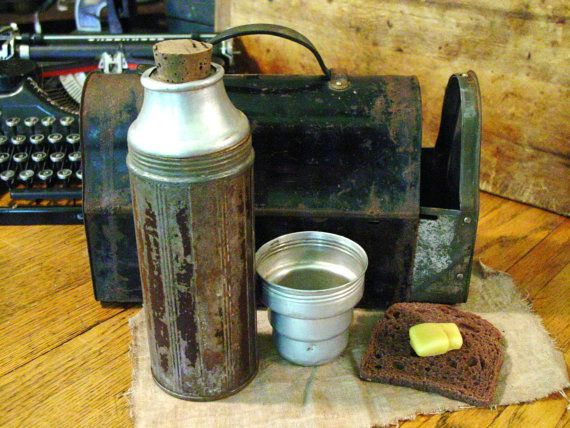 Antique Industrial Lunch Box With Thermos Side by prairieantiques