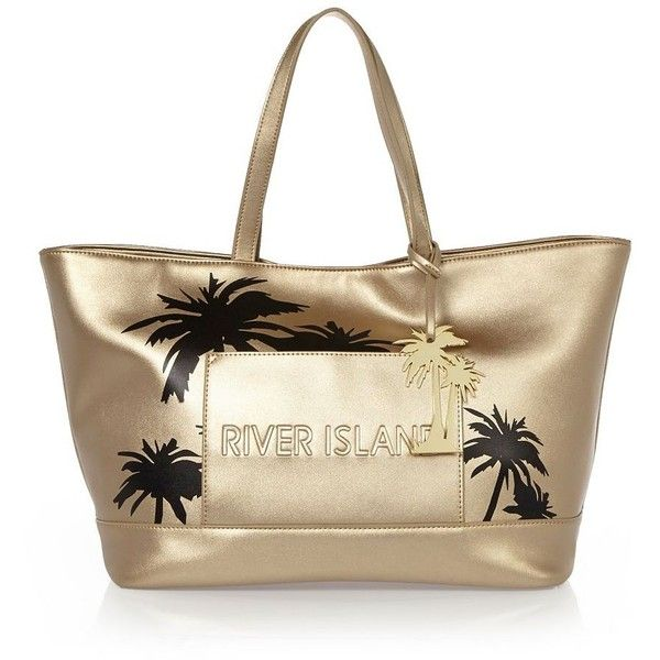 River Island Gold palm tree beach shopper bag (855 DOP) ❤ liked on Polyvore featuring bags, handbags, tote bags, sale, metallic tote, metallic handbags, top handle handbags, gold purse and beach tote