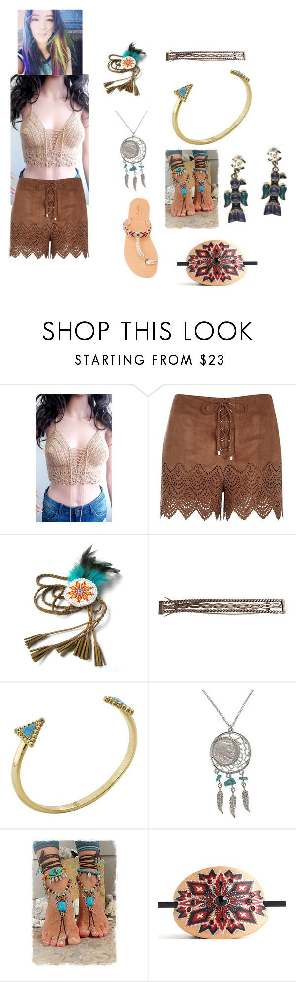 """Native look"" by mpickup ❤ liked on Polyvore featuring River Island, House of Harlow 1960, American Coin Treasures, Elina Lebessi and Chanel"