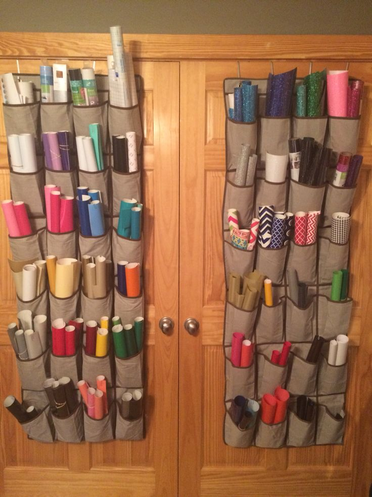 Craft room vinyl storage-adhesive on the left htv on the right