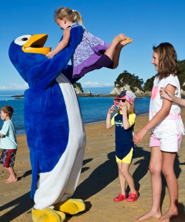 Kori at the launch of a save the penguin initiative in Nelson.