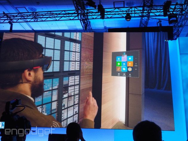 When Microsoft debuted its Windows Holographic software and HoloLens headset a few months back, Windows 10 apps were mentioned as a possibility. Well, at Build 2015 today, the folks in Redmond offered a look at Windows 10 Universal apps in holographic action. During the onstage demo, apps could be placed on walls or set to float in space, and resized based on the user's needs -- something we'd only seen in videos up to this point.