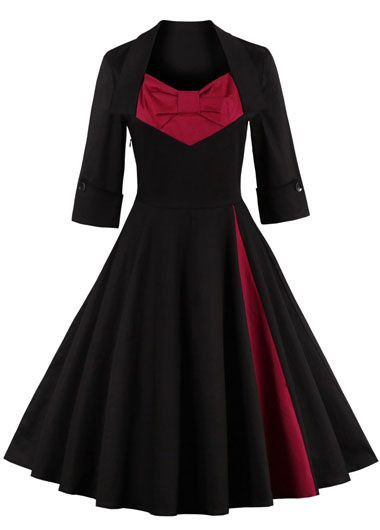 Vintage 50s style Half Sleeve Swing Party Dress Don't like the red panel on the chest, but the side one is great