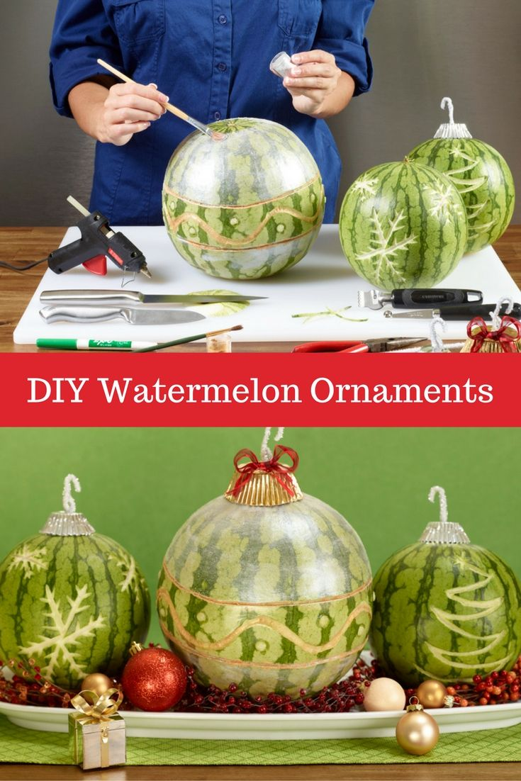 Carve watermelon ornaments for holiday centerpieces