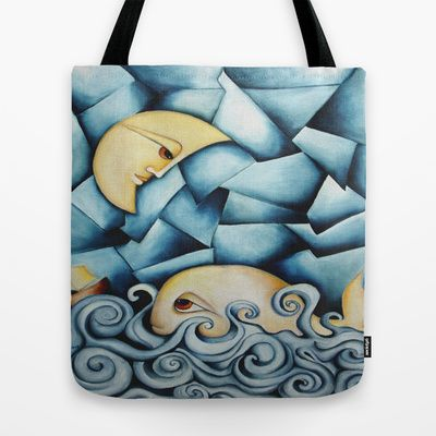 Moby Dick The Daughter Of The Moon Tote Bag by SimonaMereuArt - $22.00