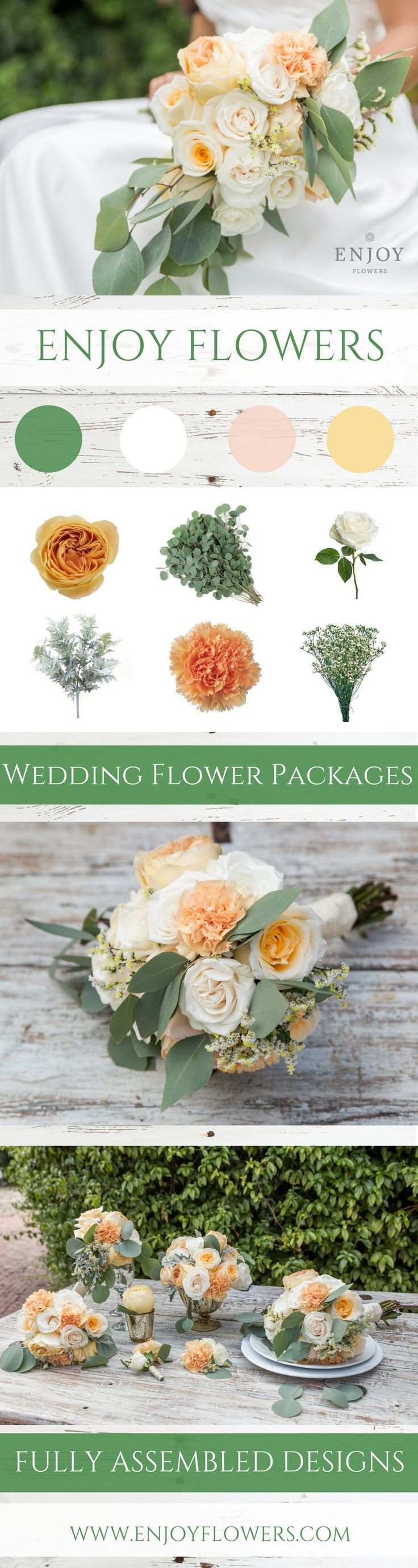 2018 Wedding Trends. DIY Wholeslae Wedding Flowers Packages. Fully Assembled Bouquets, Boutonnieres & Centerpieces only $350 for TEN PIECES! Overnight Shipping! #bouquet #weddingflowers #DIYWedding #centerpieces #boutonnieres #DIYBride #weddingtrends