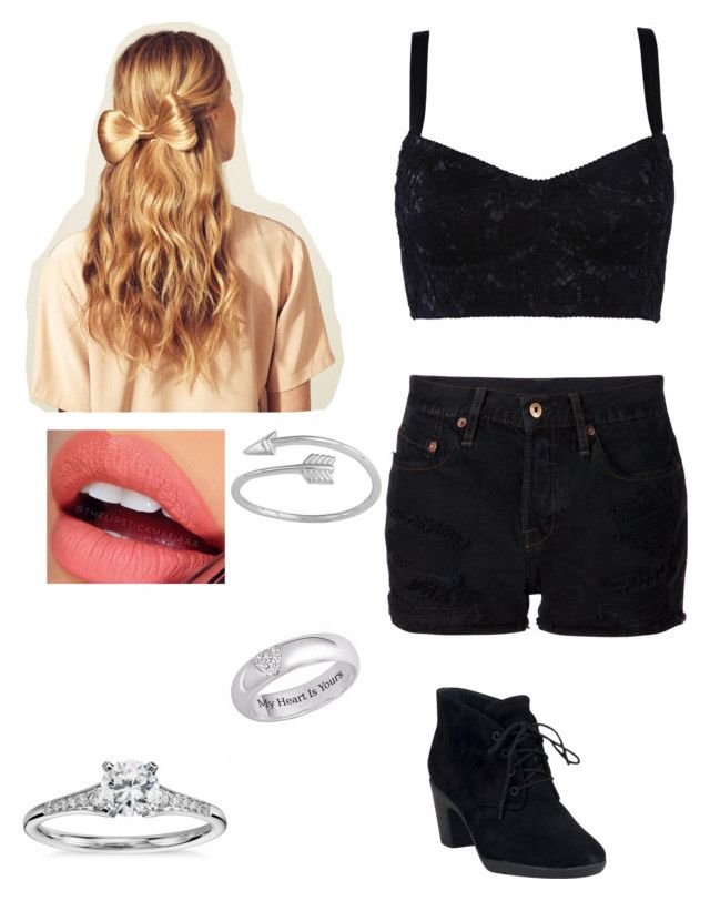 Untitled #75 by weird-fangirl on Polyvore featuring polyvore, moda, style, Dolce&Gabbana, NSF, Clarks, Blue Nile, Fiebiger and Hershesons