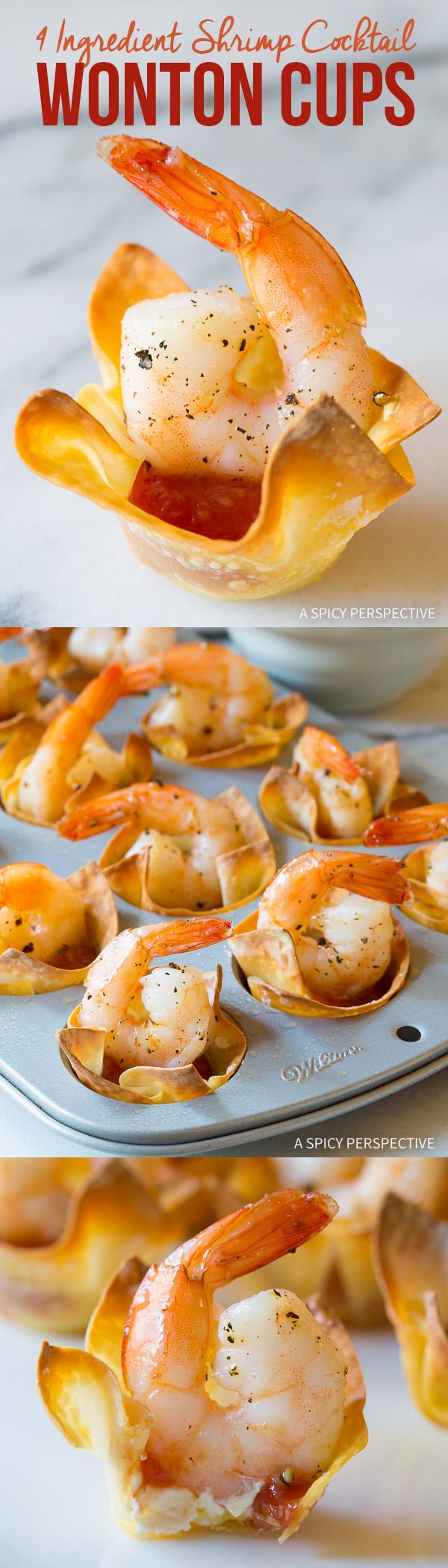 Fabulous 4-Ingredient Shrimp Cocktail Wonton Cups Recipe on ASpicyPerspective.com #holidays: