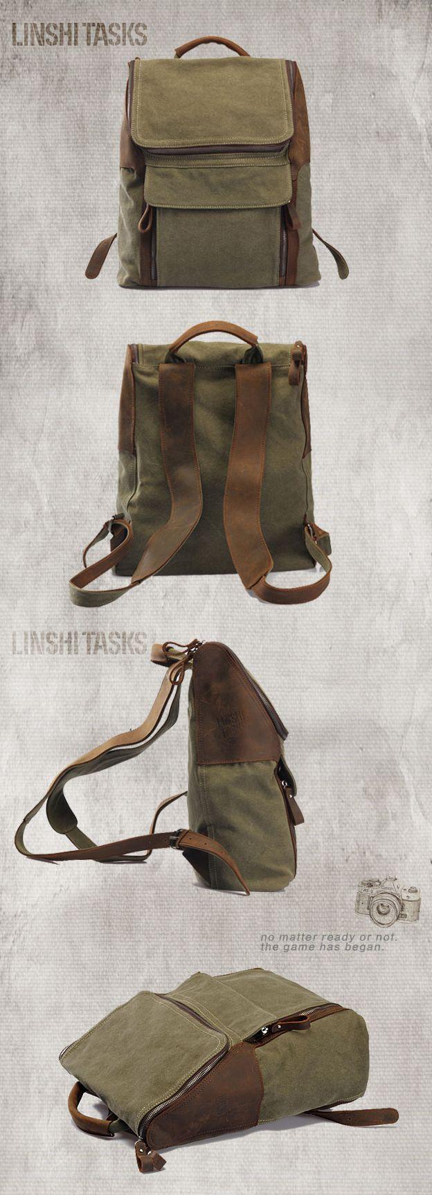 Мужской рюкзак в стиле casual + military. Красивое сочетание коричневой кожи и зеленого брезента.