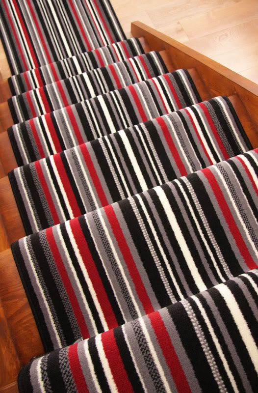 red and grey striped carpet