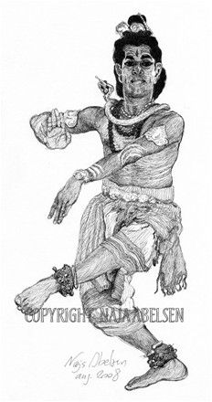 Male Indian Dancer. (Shiva). Ink drawing by Naja Abelsen. THE DANCE! - www.123hjemmeside.dk/NajaAbelsen (original sold) Available as A3-photoprint 400 DKK / 54 Euro.