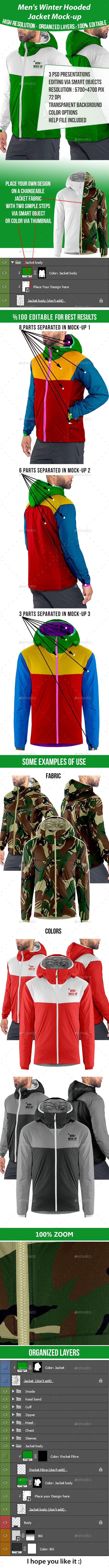 Download Men S Winter Hooded Jacket Mock Up Professional Customizable Clothing Mockup Design Identity Mockup Productdesig Men Winter Clothing Mockup Hooded Jacket