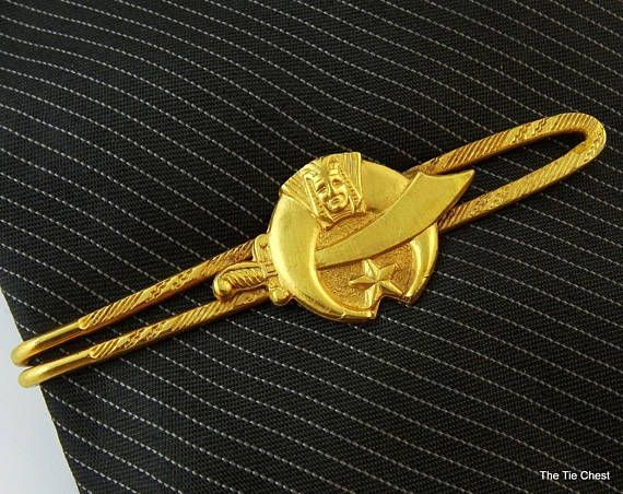 Great piece for a proud Shriner! Vintage Shriners Gold Tone Tie Bar Masonic  #theTieChest