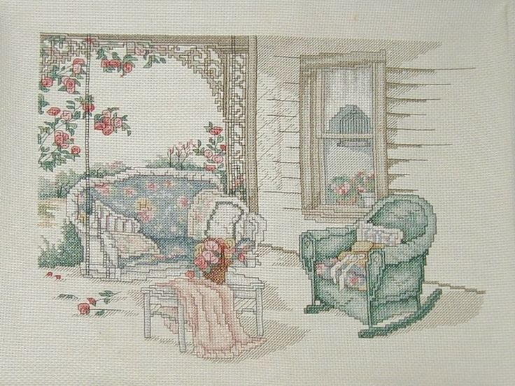 The Porch Swing Counted Cross Stitch  Paula Vaughan Completed Leisure Arts 12X9 #LeisureArts