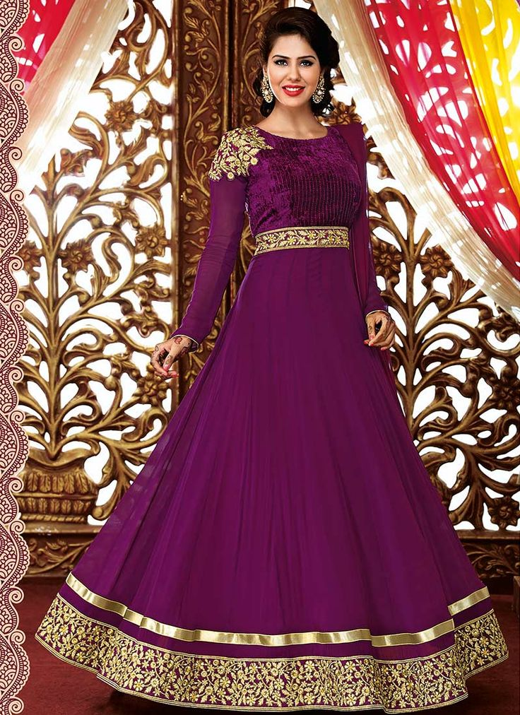Purple faux georgette ankle length #anarkali suit