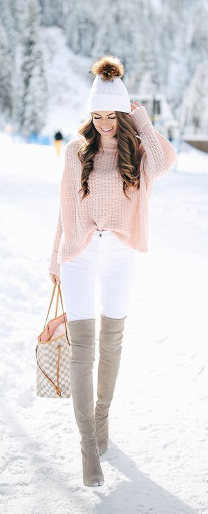 Pink sweater and otk boots!