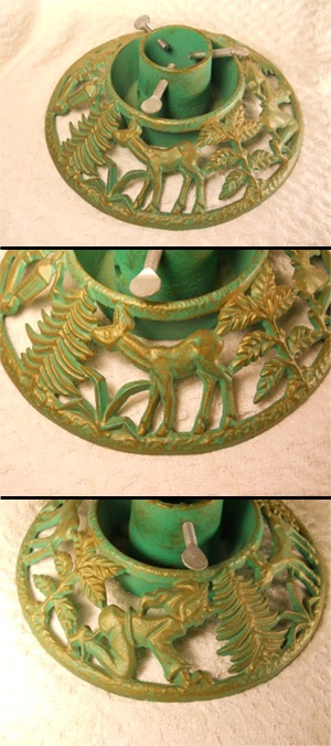 Vintage Christmas Tree Stand ~ Cast Iron w/ Deer, Elves and Various Tree Branches. Green w/ Gold Accents.