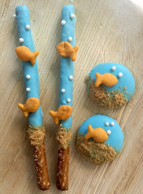 Gold Fish Under The Sea Pretzel Sticks Dipped By