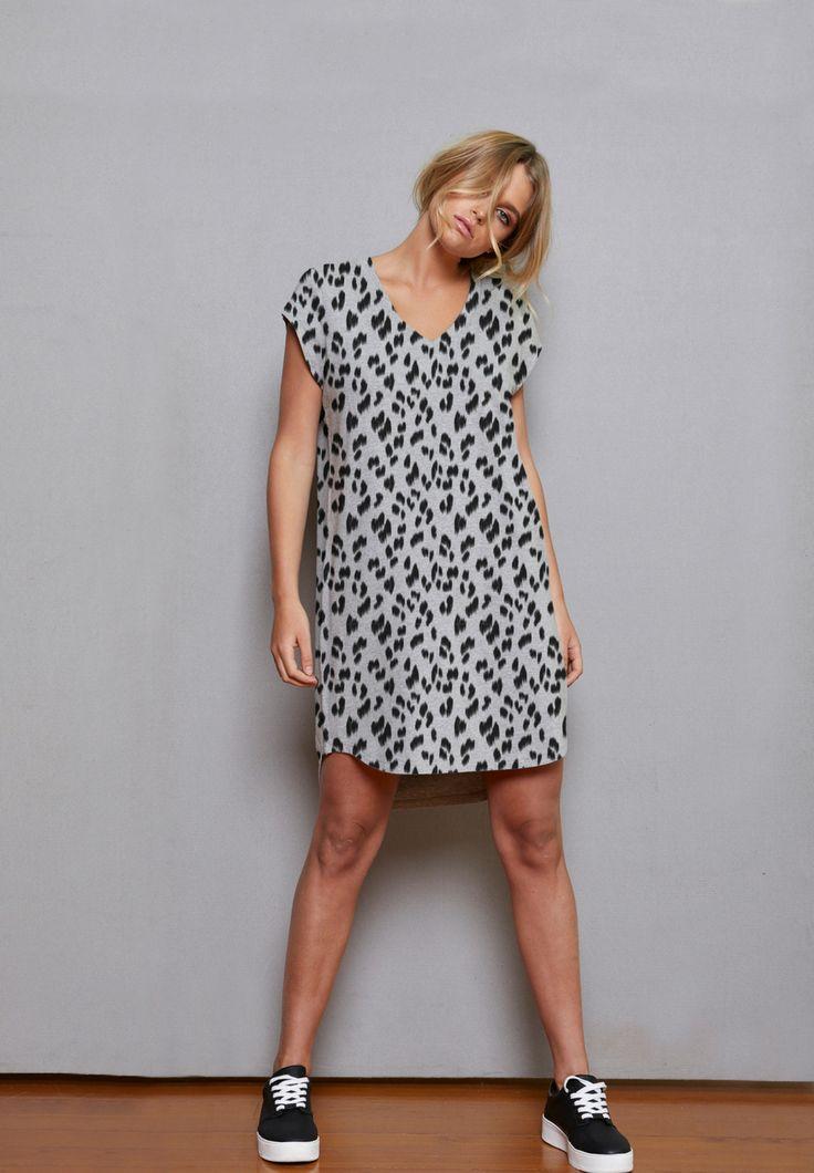 Betty Basics - Ava Dress In Silver Animal Print