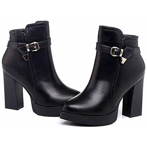 [新ファッション]ブーツショートブーツパンプスレディース厚底靴ブーツショート太ヒール10cmヒール歩きやすいシンプルおしゃれ暖かい 秋物美脚ブラックchf-109