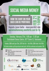 """If you're in the Vancouver area, check out this """"Social Media Money"""" event I'll be speaking at on Tuesday! (Tix at http://bit.ly/xXGHOr)"""
